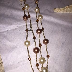 Long Pearl With Amber Crystal Beads Necklace